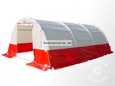 Medicinskt & nödsituationstält Uppblåsbart Bågformat Flexchelter PRO, 5,5 X 4 m, Vit/Röd